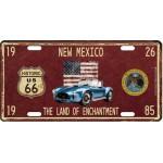 Plaque en métal 15 X 30 cm Parcours de la mythique Route 66 : New Mexico