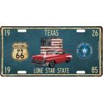 Plaque en métal 15 X 30 cm Parcours de la mythique Route 66 : Texas