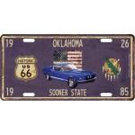 Plaque en métal 15 X 30 cm Parcours de la mythique Route 66 : Oklahoma