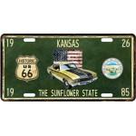 Plaque en métal 15 X 30 cm Parcours de la mythique Route 66 : Kansas
