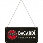 Plaque en métal 10 X 20 cm à suspendre : Bacardi (rhum)