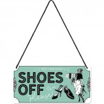"""Plaque en métal 10 X 20 cm à suspendre : """"Shoes off"""" (enlever vos chaussures)"""