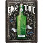 Plaque en métal 30 X 40 cm : Gin Tonic Green Edition