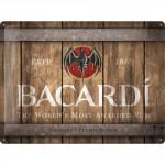 Plaque en métal 30 X 40 cm : Logo Bacardi sur fût de bois