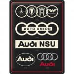 Plaque en métal 30 X 40 cm Audi : l'évolution du logo