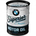 Tirelire métallique ronde en forme de baril : BMW