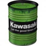 Tirelire métallique ronde en forme de baril : Kawasaki