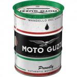 Tirelire métallique ronde en forme de baril : Moto Guzzi