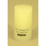 Bougie cylindrique rustique pilier 12cm aspect givré couleur blanche