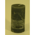 Bougie cylindrique rustique pilier 12cm aspect givré couleur gris clair
