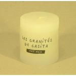Bougie cylindrique rustique pilier 7cm aspect givré couleur blanche