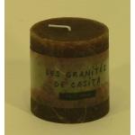 Bougie cylindrique rustique pilier 7cm aspect givré couleur chocolat