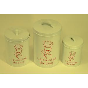 """Set de 3 boîtes blanches en métal décor """"La cuisine du chef"""""""