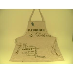 """Tablier 100% coton couleur beige décor """"Fabrique de délices"""""""