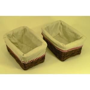 Panier rectangulaire en rotin et tissu avec bord vichy - petit modèle (2 pces)