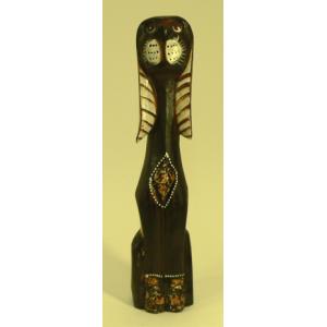 Chien en bois brun décor beige 40 cm