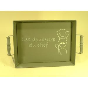 """Plateau en métal rectangulaire gris décor """"Les douceurs du chef"""""""