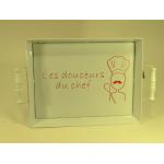 """Plateau en métal rectangulaire blanc décor """"Les douceurs du chef"""""""