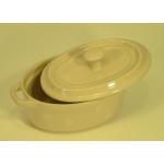 Faitout individuel ovale avec couvercle décor beige à pois blancs