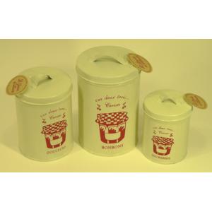 Set de 3 boîtes en métal décor pot de confiture