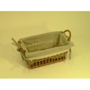 Panier rectangulaire en rotin et tissu avec dentelle - petit modèle