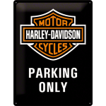 Plaque en métal 30 X 40 cm Harley-Davidson : logo et mention PARKING ONLY
