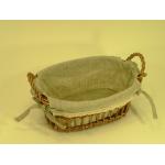 Panier ovale en rotin et tissu avec dentelle - modèle moyen