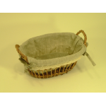 Panier ovale en rotin et tissu avec dentelle - petit modèlePETIT MODELE