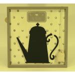 Cadre (bois) mémo en ardoise avec éponge décor vintage cafetière