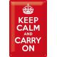 Plaque en métal 20 X 30 cm : Keep calm and carry on