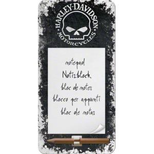 Bloc-notes aimanté Harley-Davidson : tête de mort