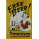 Plaque en métal 20 X 30 cm Free Beer - Bière gratuite