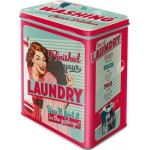 """Boîte en métal rectangulaire Vintage années 50 """"J'ai fini la lessive..."""""""