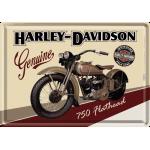 Plaque en métal 14 X 10 cm Harley-Davidson : 750 Flathead