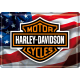 Plaque en métal 14 X 10 cm Harley-Davidson : Drapeau américain (USA)
