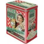 Boîte en métal rectangulaire Vintage années 50 : Coffee - Café