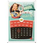 """Plaque en métal 20 X 30 cm Calendrier Perpétuel : """"Une maison propre ..."""""""