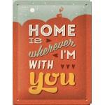 """Plaque en métal 15 X 20 cm Vintage années 50 : """"Home is ..."""" - Ma maison c'est ..."""""""