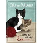 Plaque en métal 14 X 10 cm Cats and Kittens - Chats et chatons