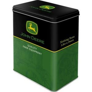Boîte en métal rectangulaire John Deere verte et noire